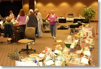 Setting up for our annual fundraiser in 2010