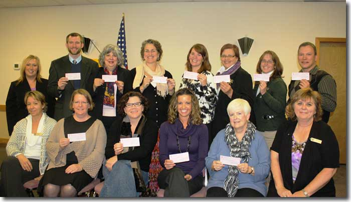 Recipients of Zonta Local Service Grants at check presentation, November 2011