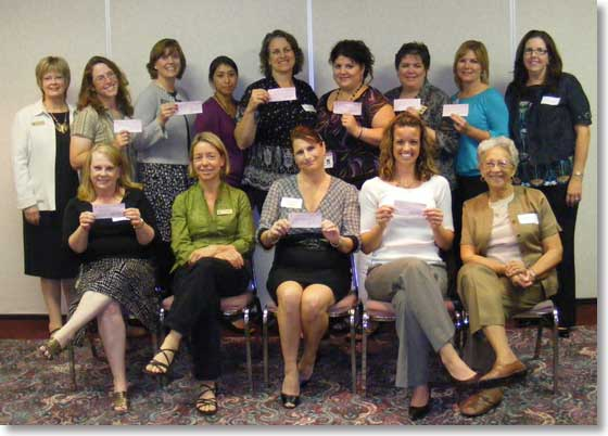Recipients of Zonta Local Service Grants at check presentation, September 2009